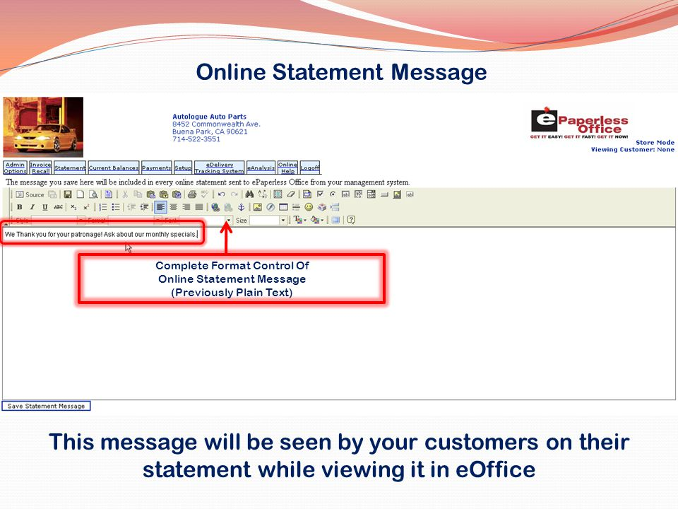 Online Statement Message