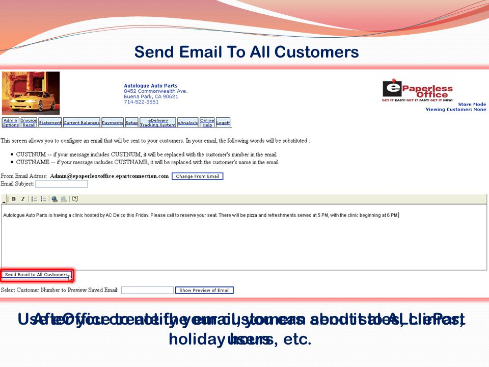 Send Email To All Customers