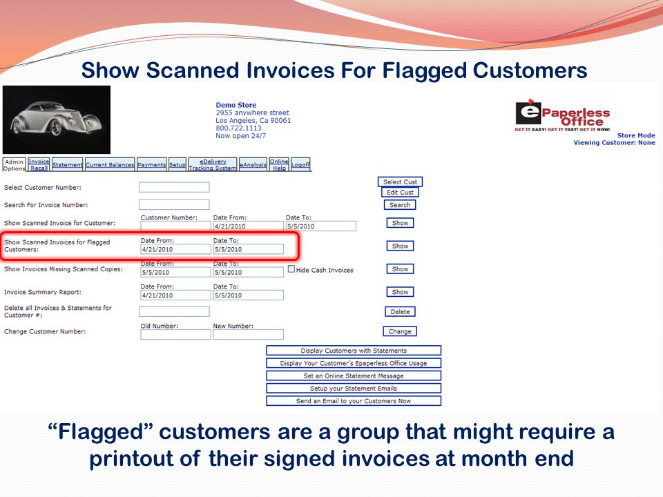 Show Scanned Invoices For Flagged Customers
