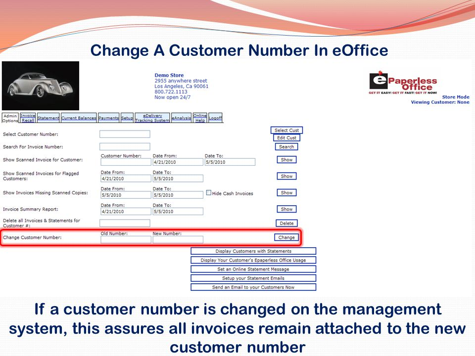 Change A Customer Number In eOffice
