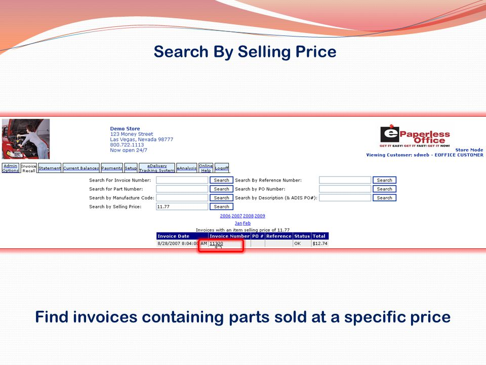 Search By Selling Price