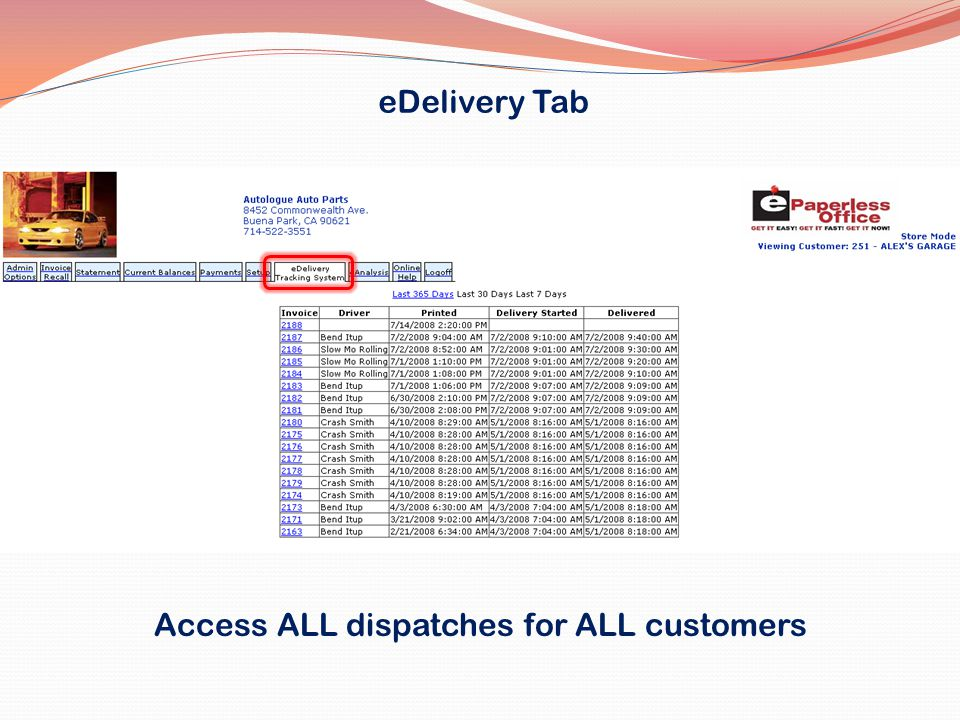 Access ALL dispatches for ALL customers