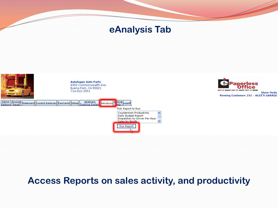 Access Reports on sales activity, and productivity