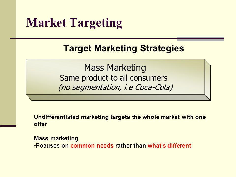 Market Targeting Mass Marketing Target Marketing Strategies
