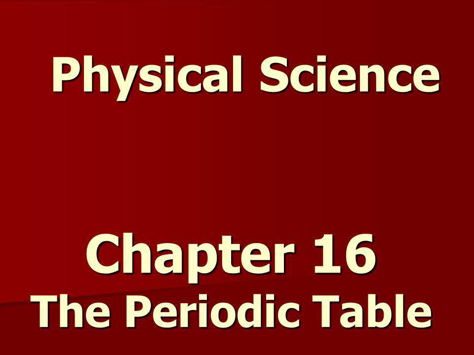 Chapter 16 The Periodic Table