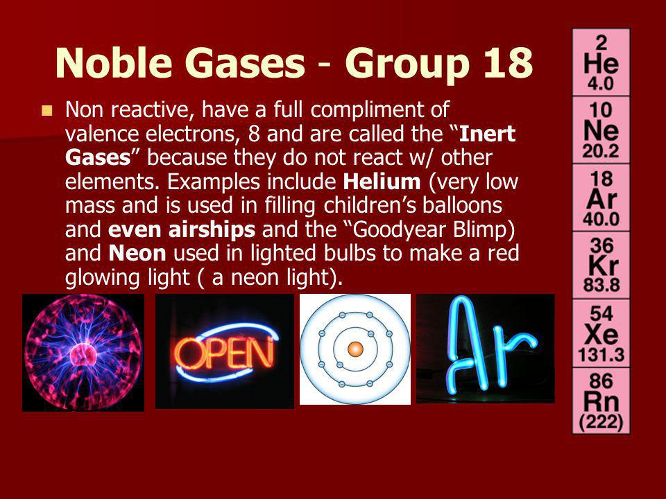 Noble Gases - Group 18