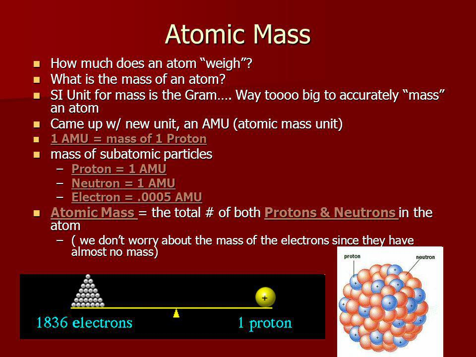 Atomic Mass How much does an atom weigh