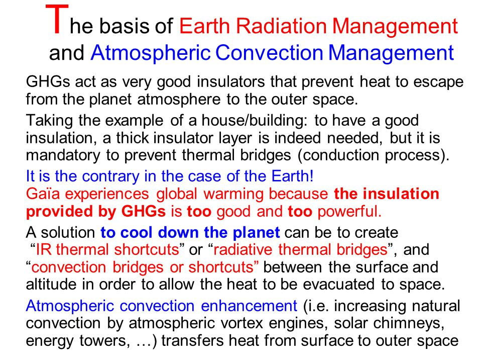The basis of Earth Radiation Management and Atmospheric Convection Management