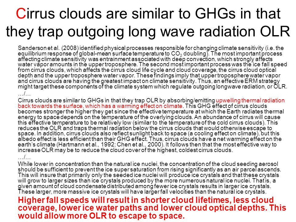 Cirrus clouds are similar to GHGs in that they trap outgoing long wave radiation OLR