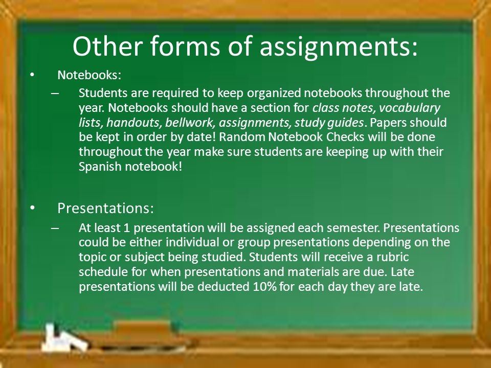 Other forms of assignments: