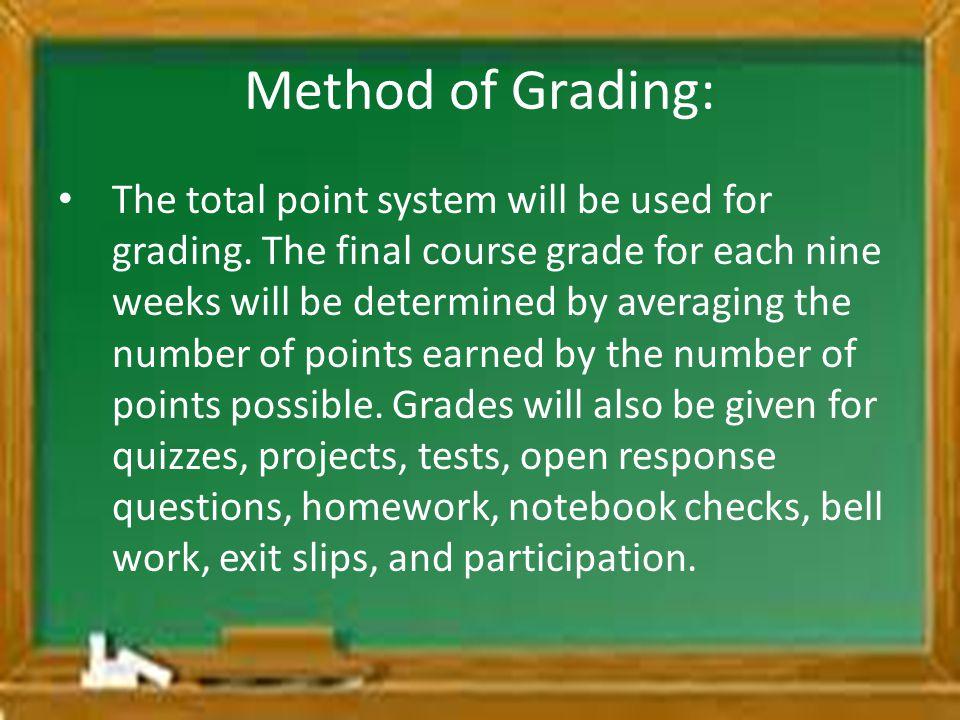 Method of Grading: