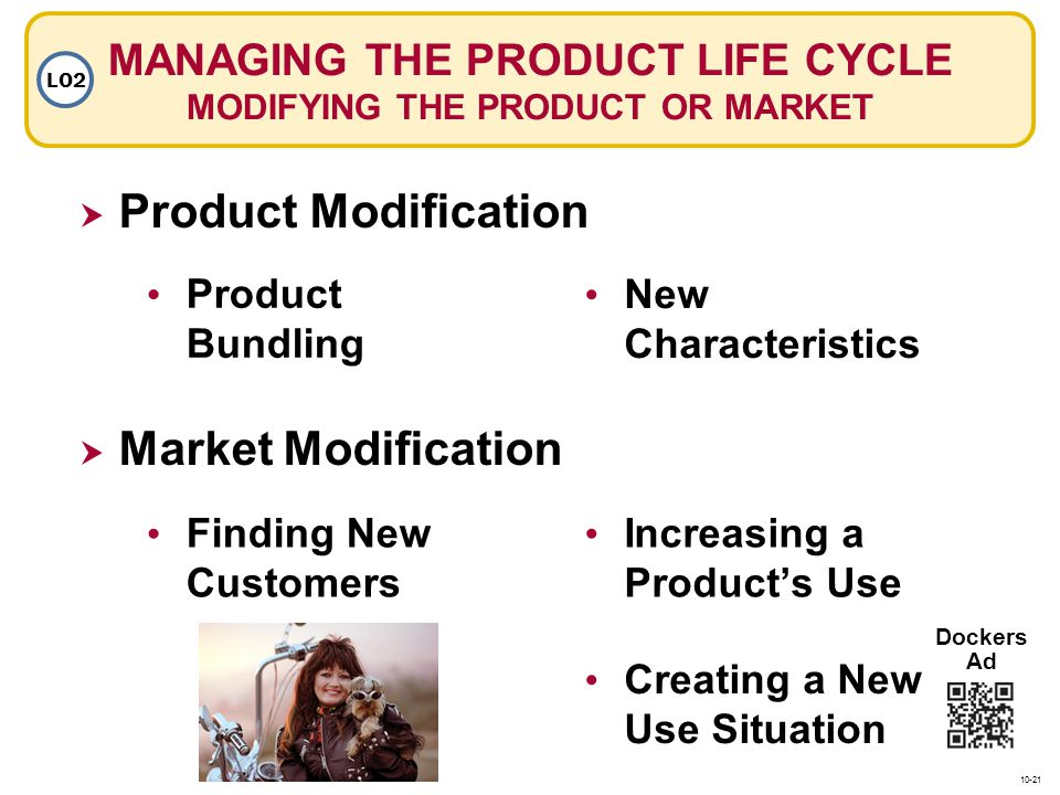 MANAGING THE PRODUCT LIFE CYCLE MODIFYING THE PRODUCT OR MARKET