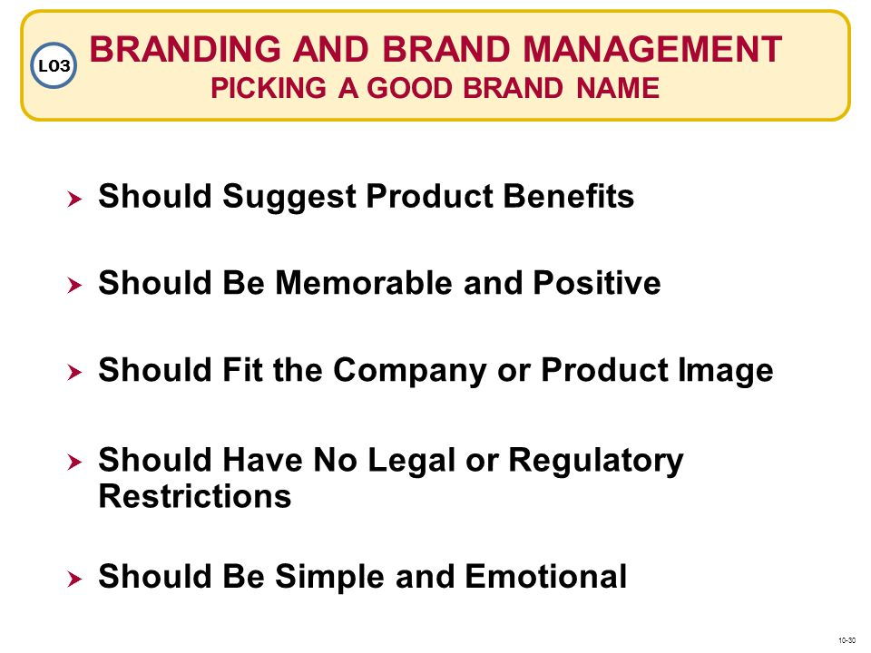 BRANDING AND BRAND MANAGEMENT PICKING A GOOD BRAND NAME