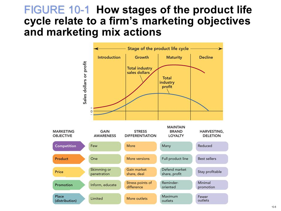 FIGURE 10-1 How stages of the product life cycle relate to a firm's marketing objectives and marketing mix actions