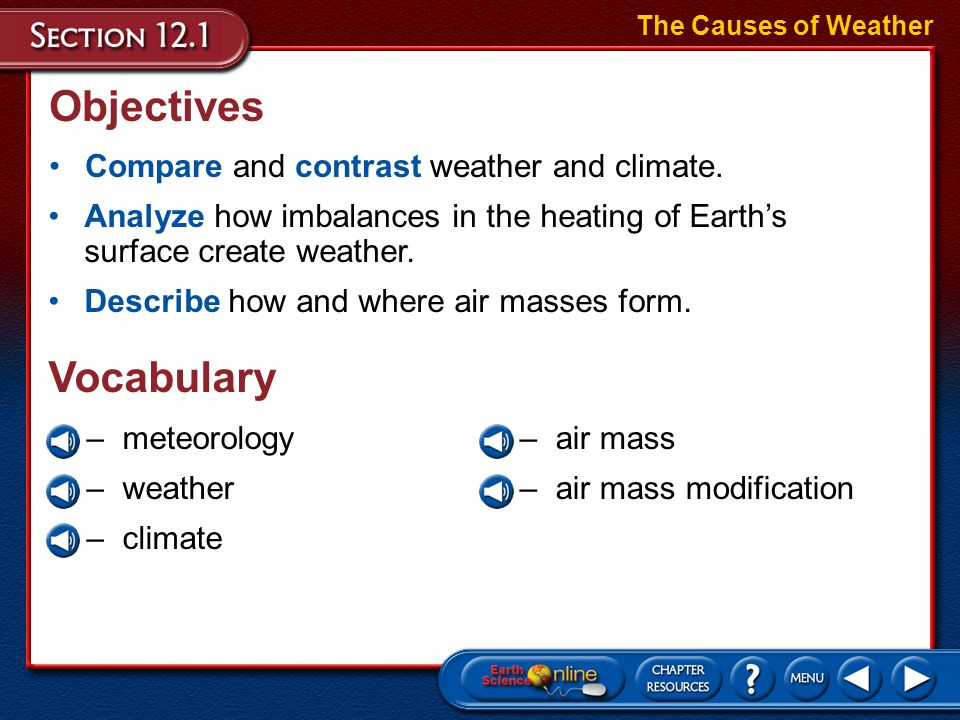Objectives Vocabulary Compare and contrast weather and climate.