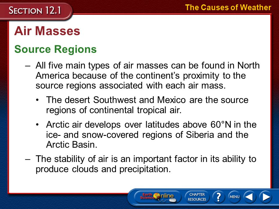 Air Masses Source Regions