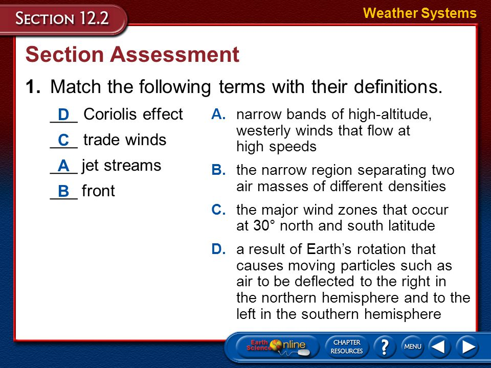 Weather Systems Section Assessment. 1. Match the following terms with their definitions. ___ Coriolis effect.