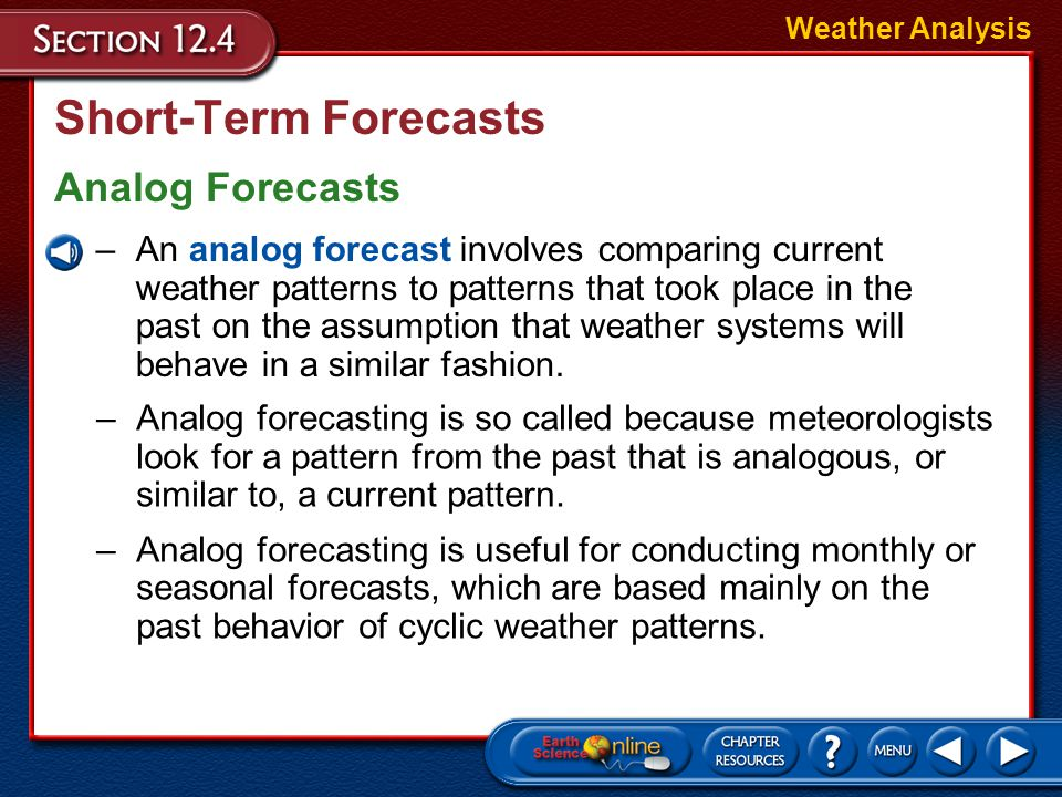 Short-Term Forecasts Analog Forecasts