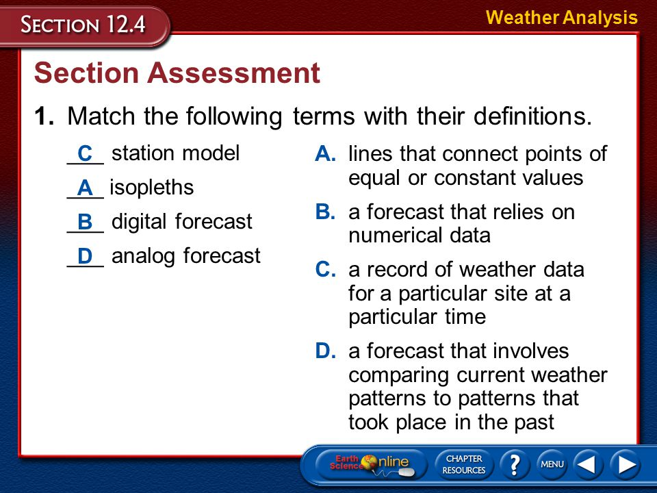 Weather Analysis Section Assessment. 1. Match the following terms with their definitions. ___ station model.