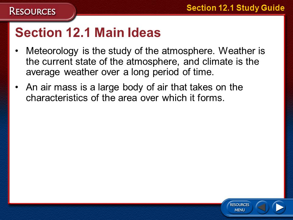 Section 12.1 Study Guide Section 12.1 Main Ideas.