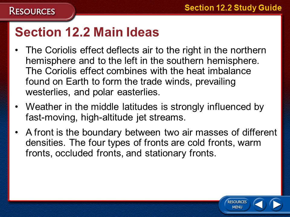 Section 12.2 Study Guide Section 12.2 Main Ideas.