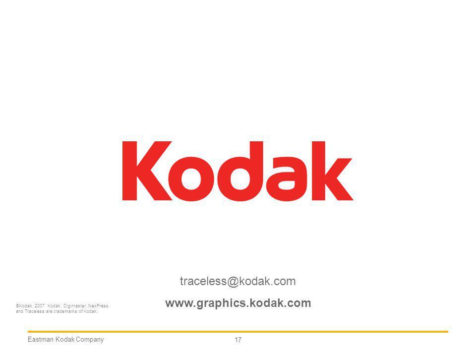 traceless@kodak.com www.graphics.kodak.com Eastman Kodak Company