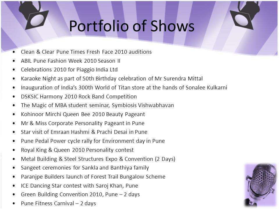 Portfolio of Shows