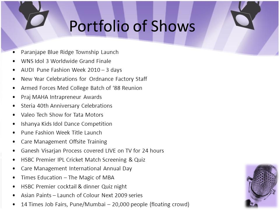 Portfolio of Shows • Paranjape Blue Ridge Township Launch