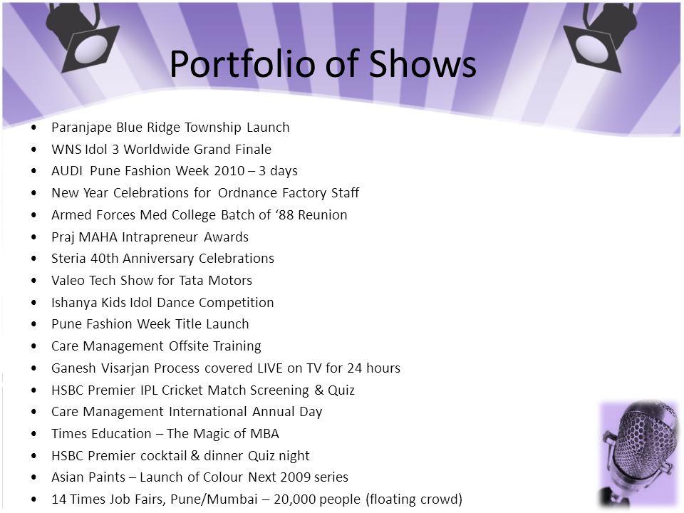 Portfolio of Shows • Paranjape Blue Ridge Township Launch