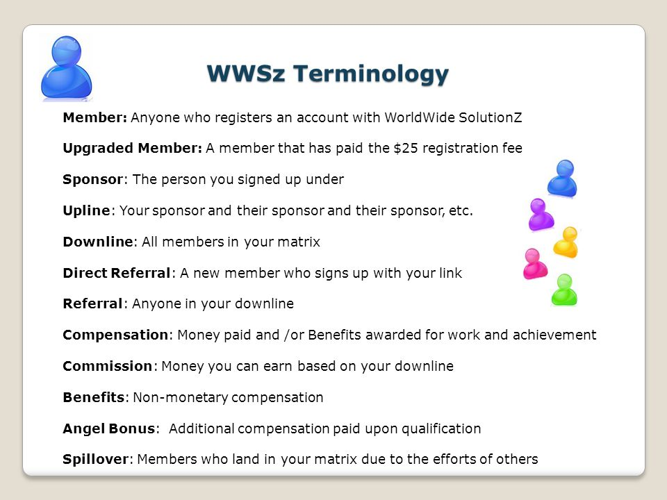 WWSz Terminology Member: Anyone who registers an account with WorldWide SolutionZ. Upgraded Member: A member that has paid the $25 registration fee.
