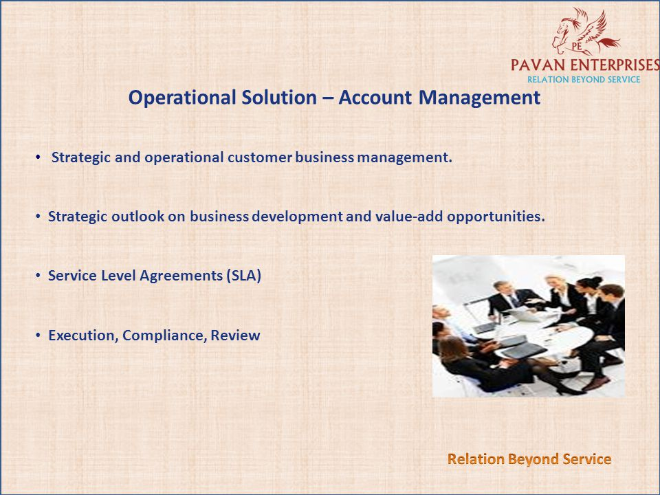 Relation Beyond Service Operational Solution – Account Management
