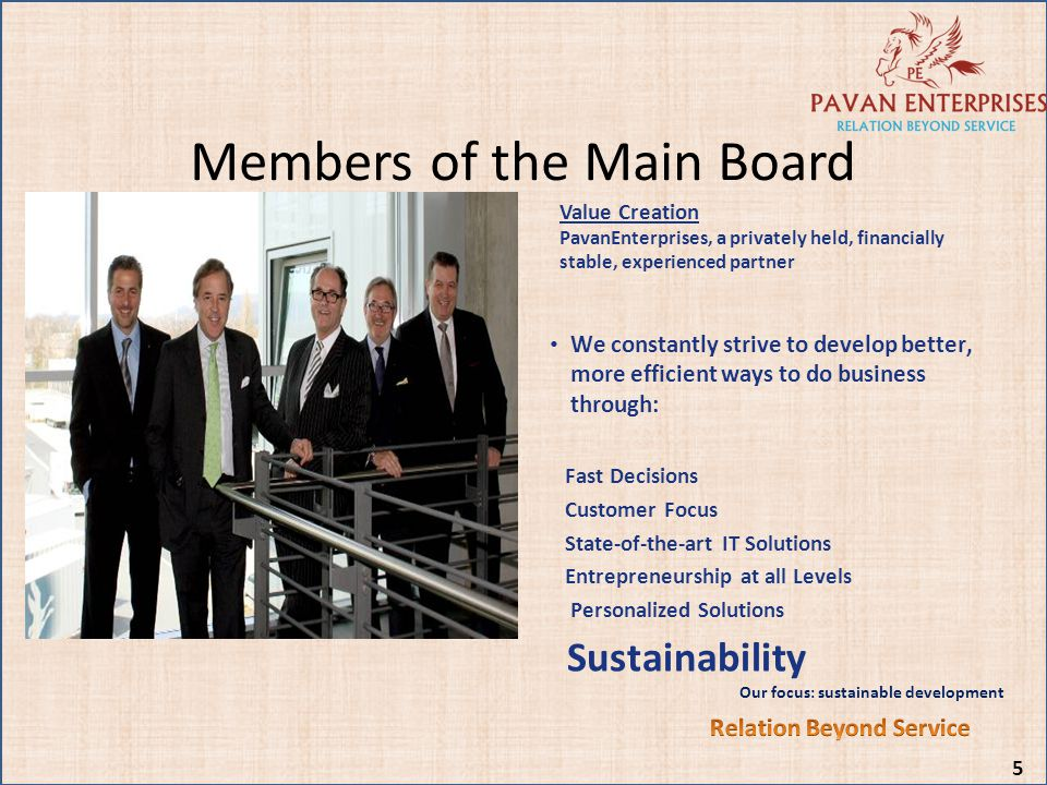 Members of the Main Board