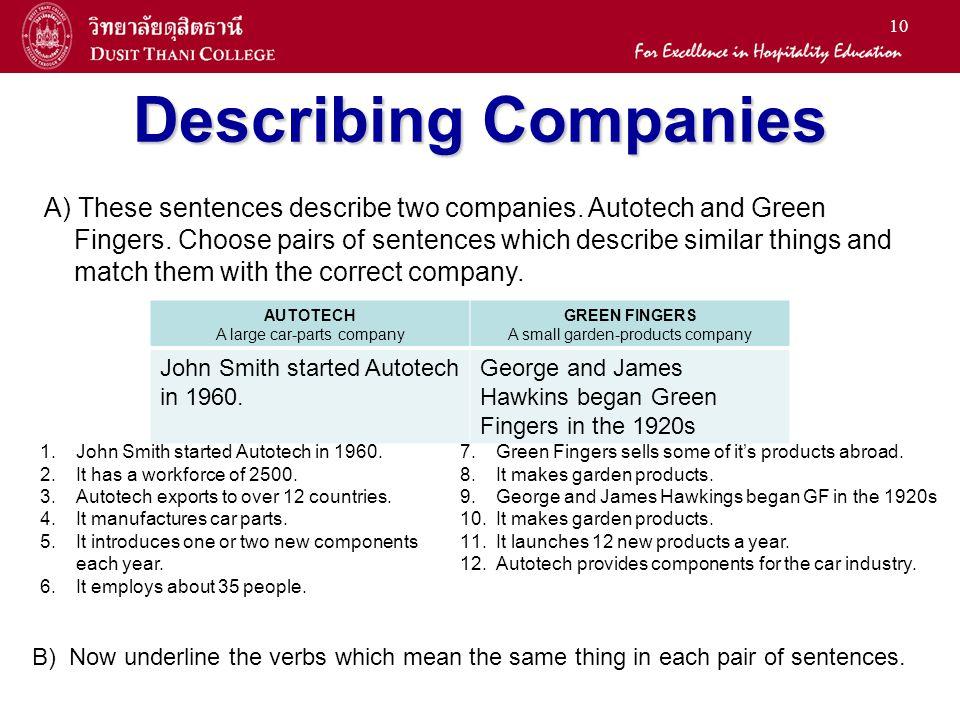 Describing Companies