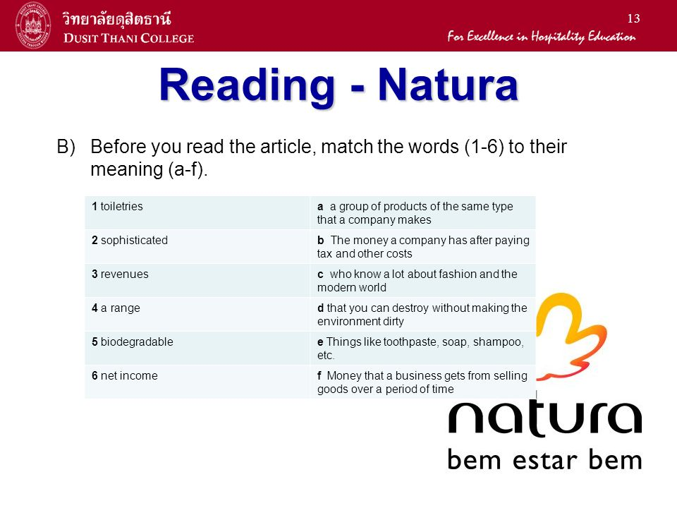 Reading - Natura B) Before you read the article, match the words (1-6) to their meaning (a-f). 1 toiletries.