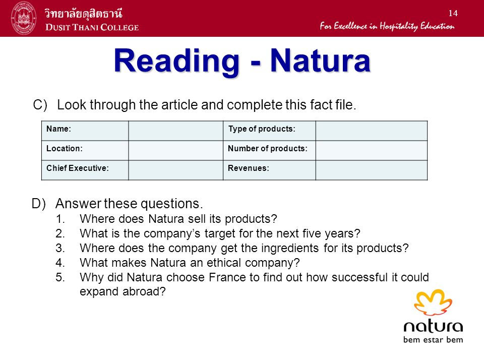 Reading - Natura C) Look through the article and complete this fact file. Name: Type of products: