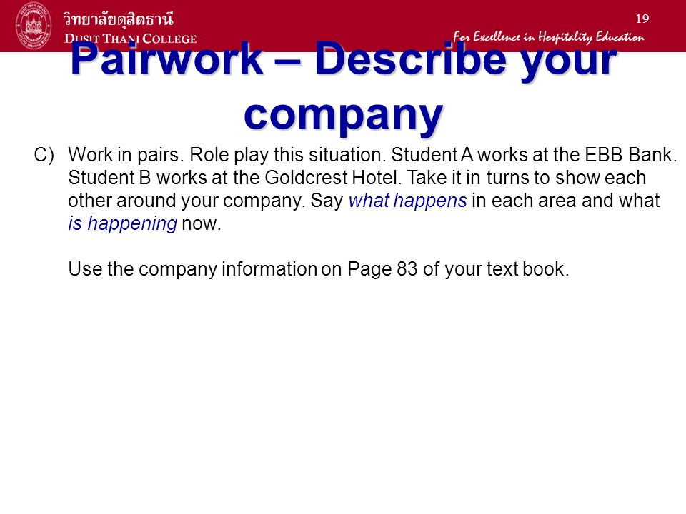 Pairwork – Describe your company