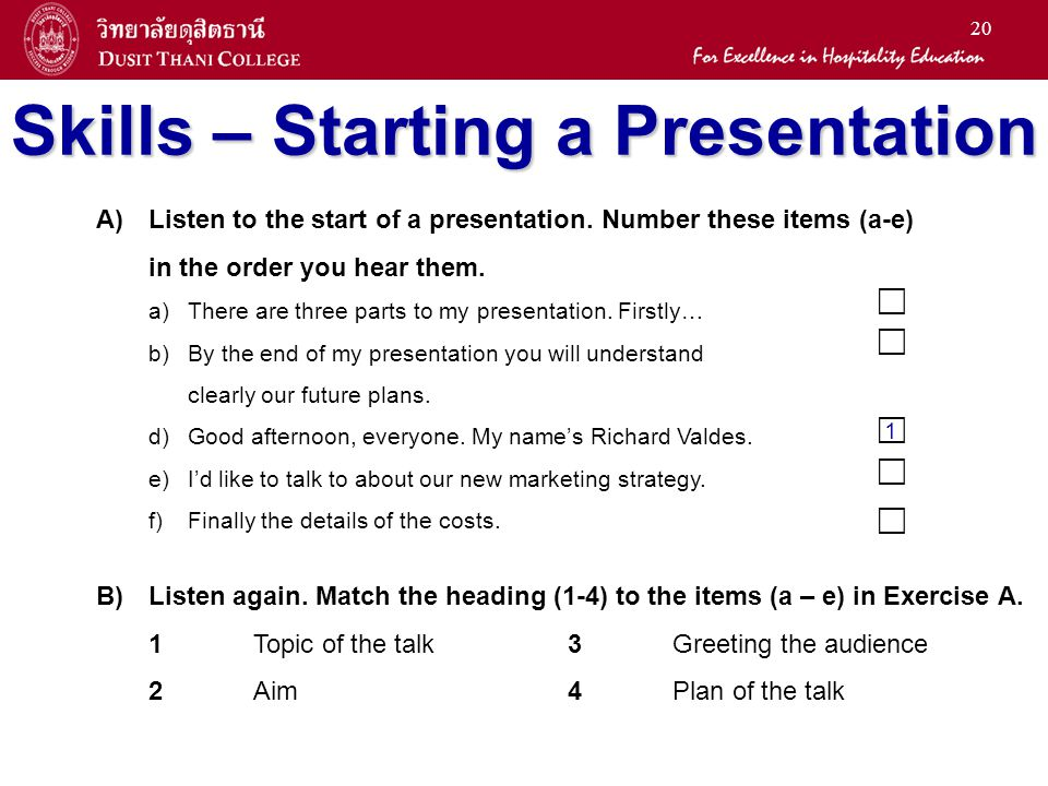 Skills – Starting a Presentation