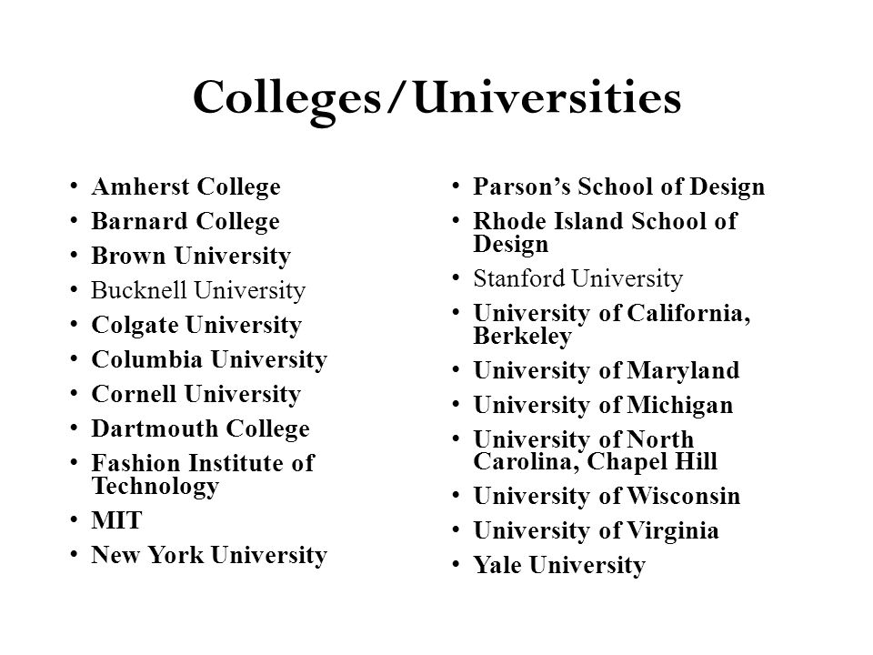 Colleges/Universities