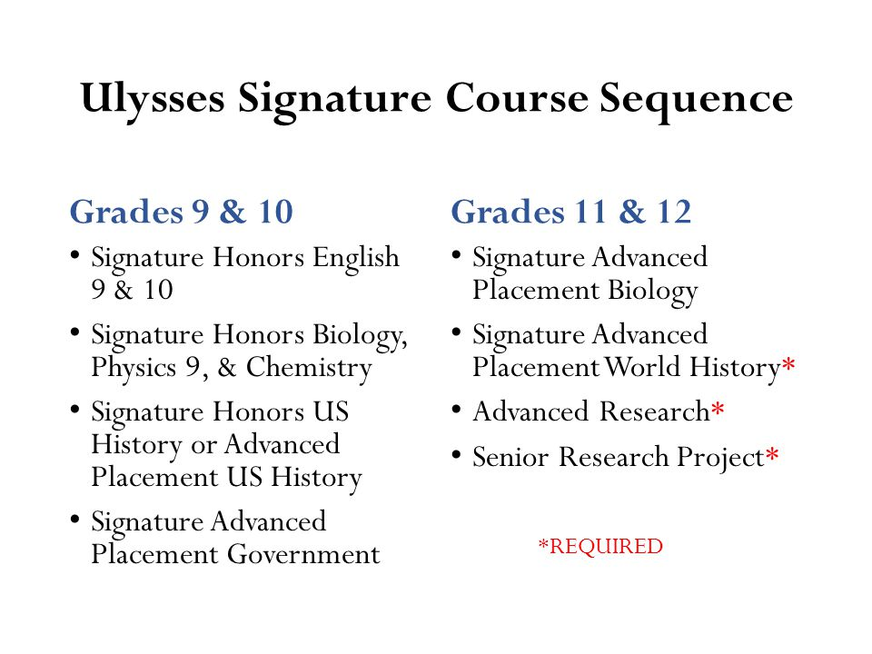 Ulysses Signature Course Sequence