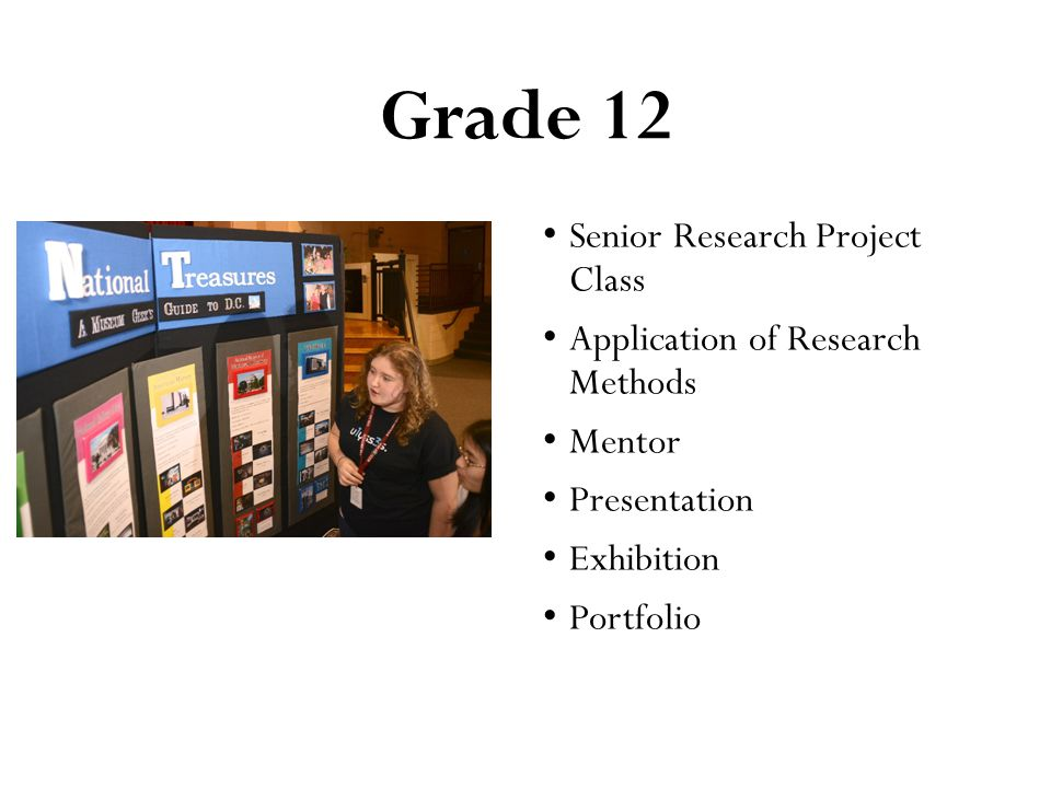 Grade 12 Senior Research Project Class Application of Research Methods