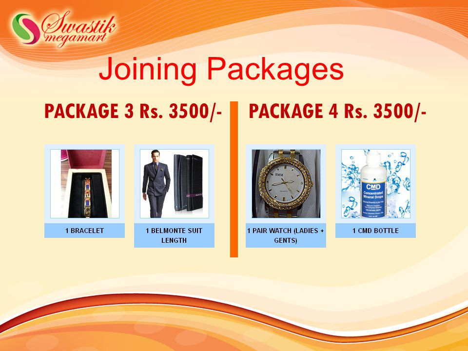 Joining Packages PACKAGE 3 Rs. 3500/- PACKAGE 4 Rs. 3500/-