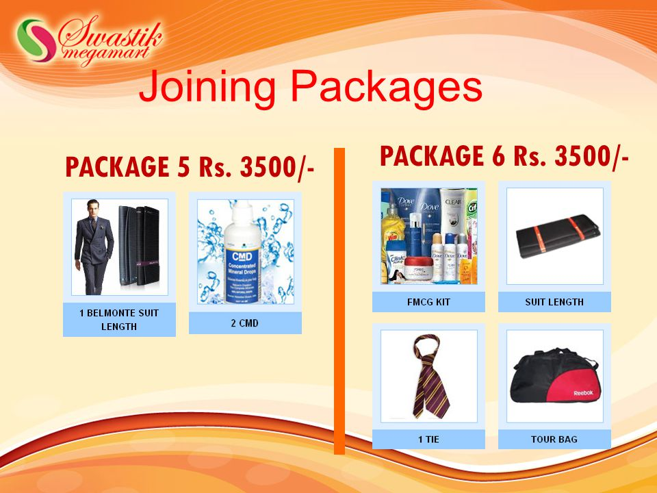 Joining Packages PACKAGE 6 Rs. 3500/- PACKAGE 5 Rs. 3500/-