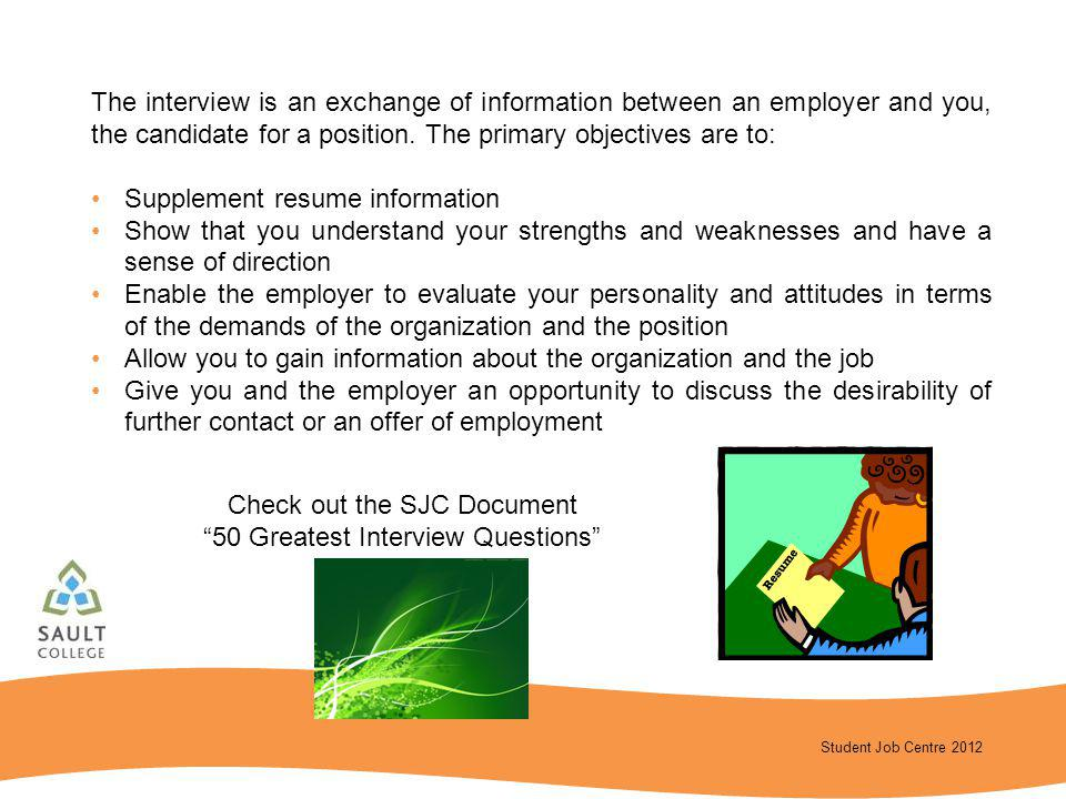 Supplement resume information