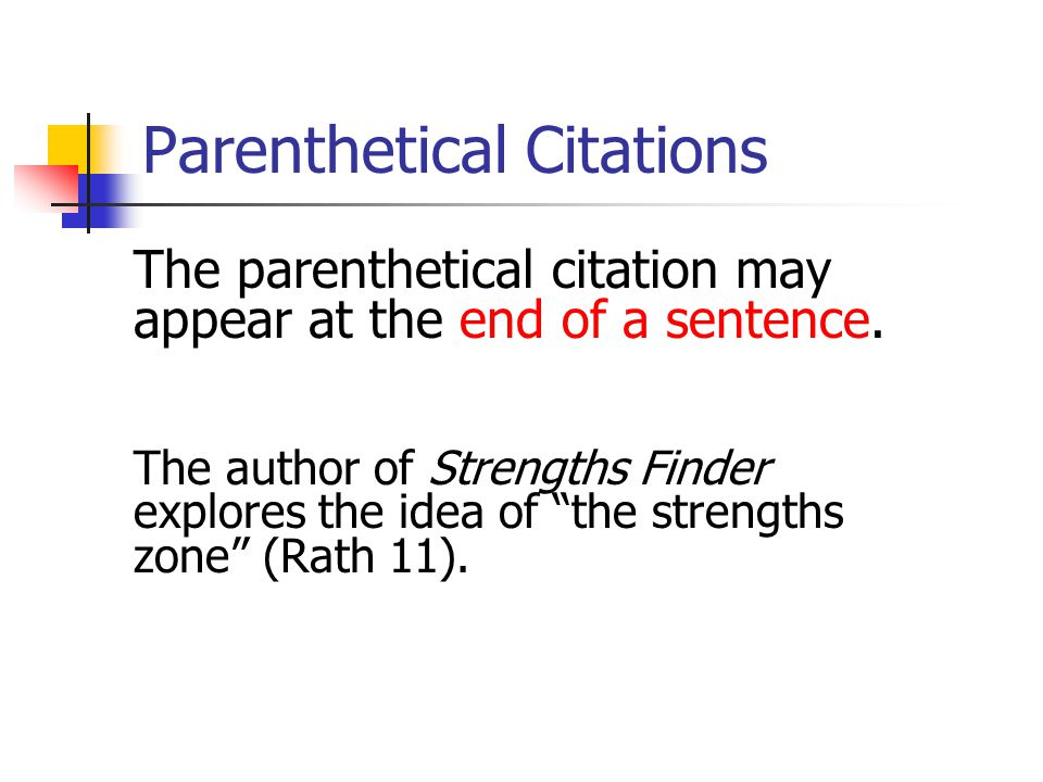 Parenthetical Citations