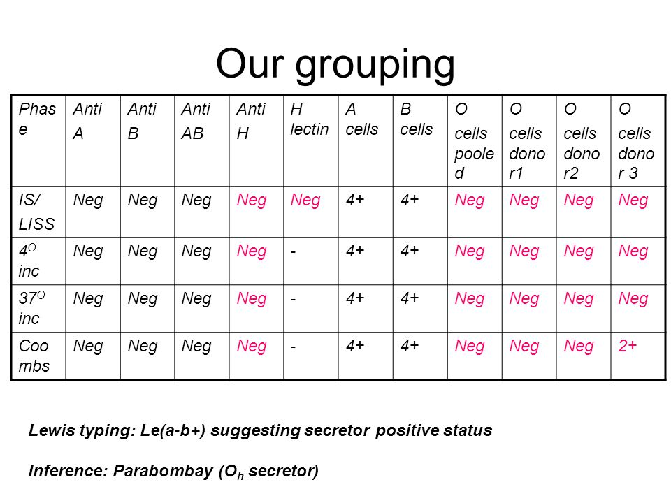 Our grouping Phase Anti A B AB H H lectin A cells B cells O