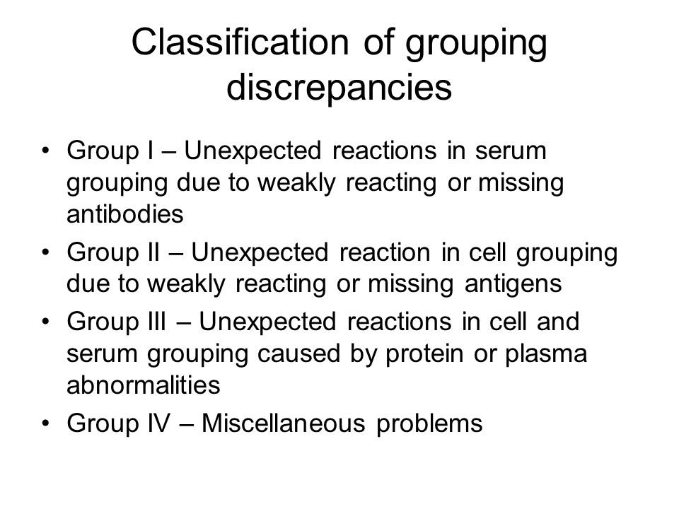 Classification of grouping discrepancies