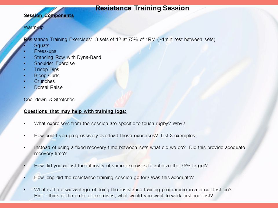 Resistance Training Session