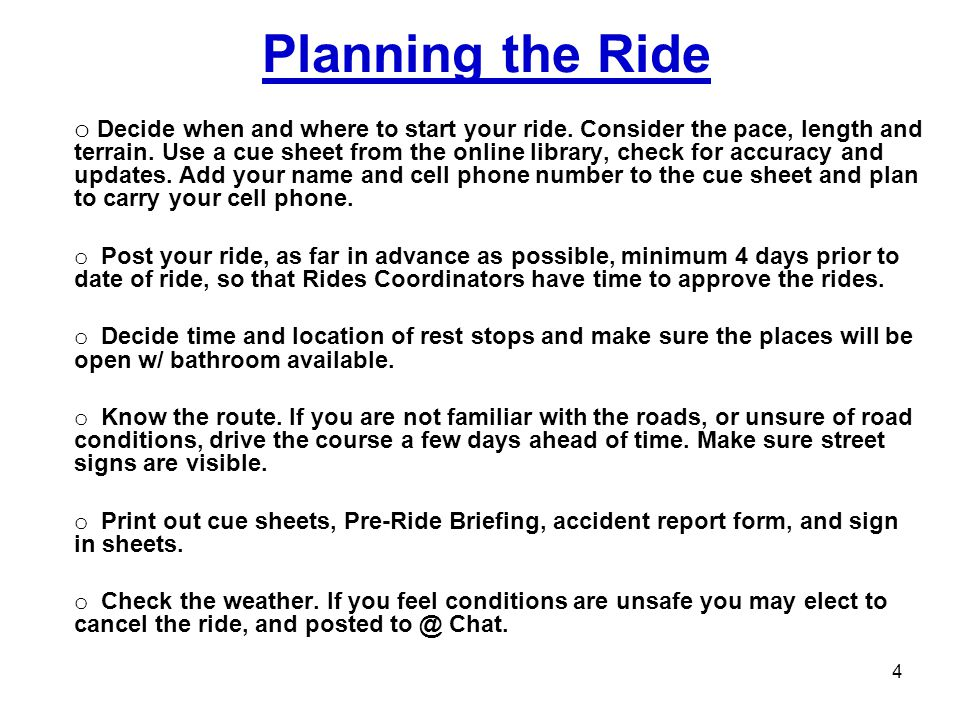 Planning the Ride