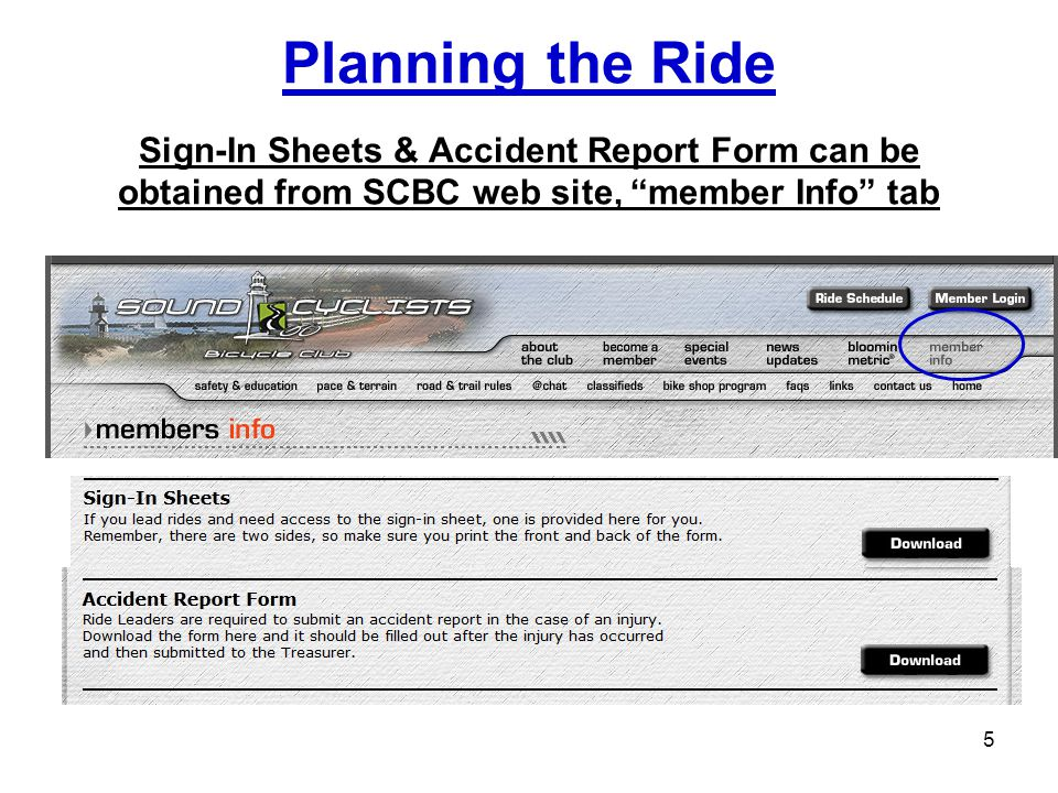 Planning the Ride Sign-In Sheets & Accident Report Form can be obtained from SCBC web site, member Info tab