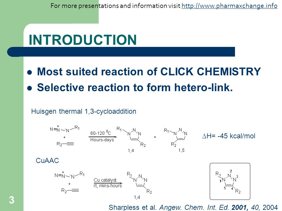 INTRODUCTION Most suited reaction of CLICK CHEMISTRY